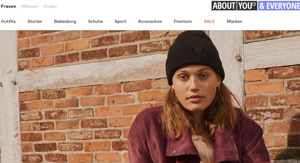Die Startseite von About You