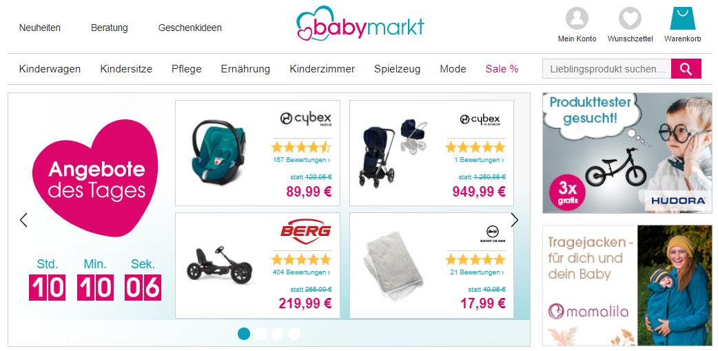 Die Startseite von babymarkt