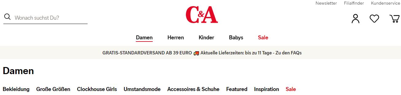 Die Startseite von C&A