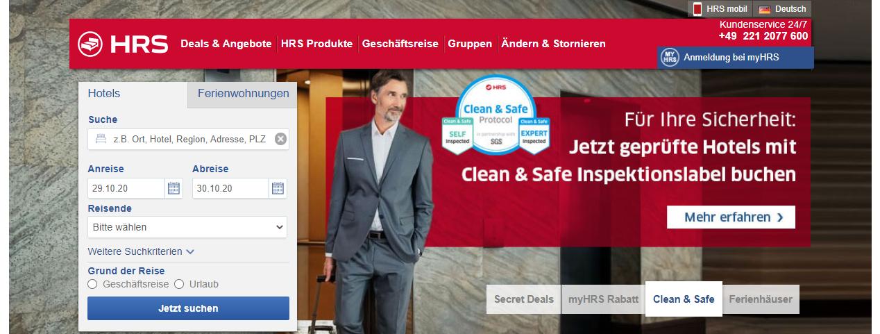 Die Startseite von HRS