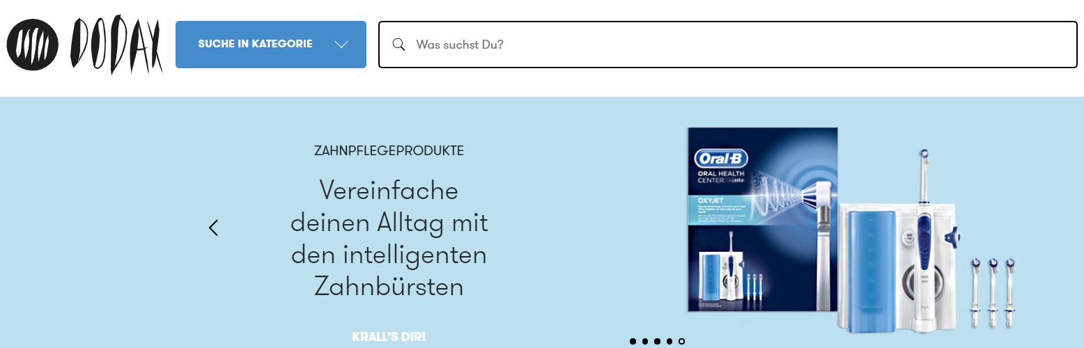 Die Startseite von Dodax