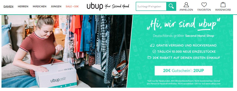 Die Startseite von Ubup