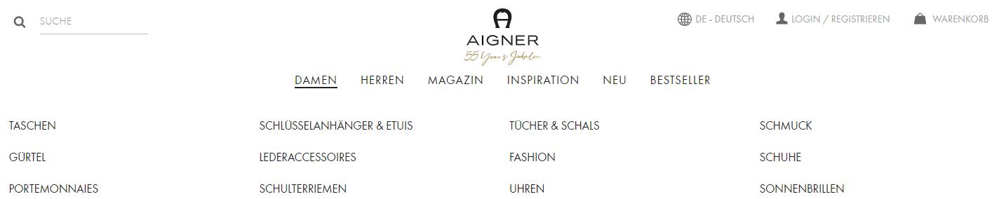 Die Startseite von Aigner