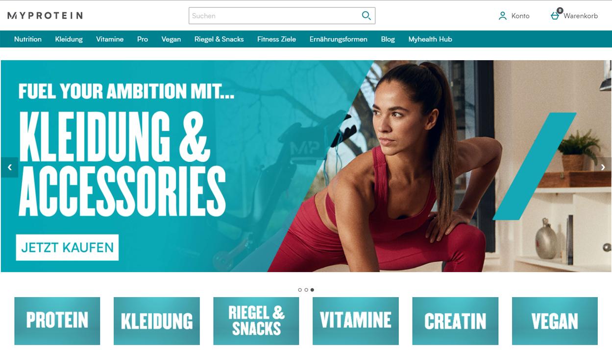 MyProtein Shopstartseite