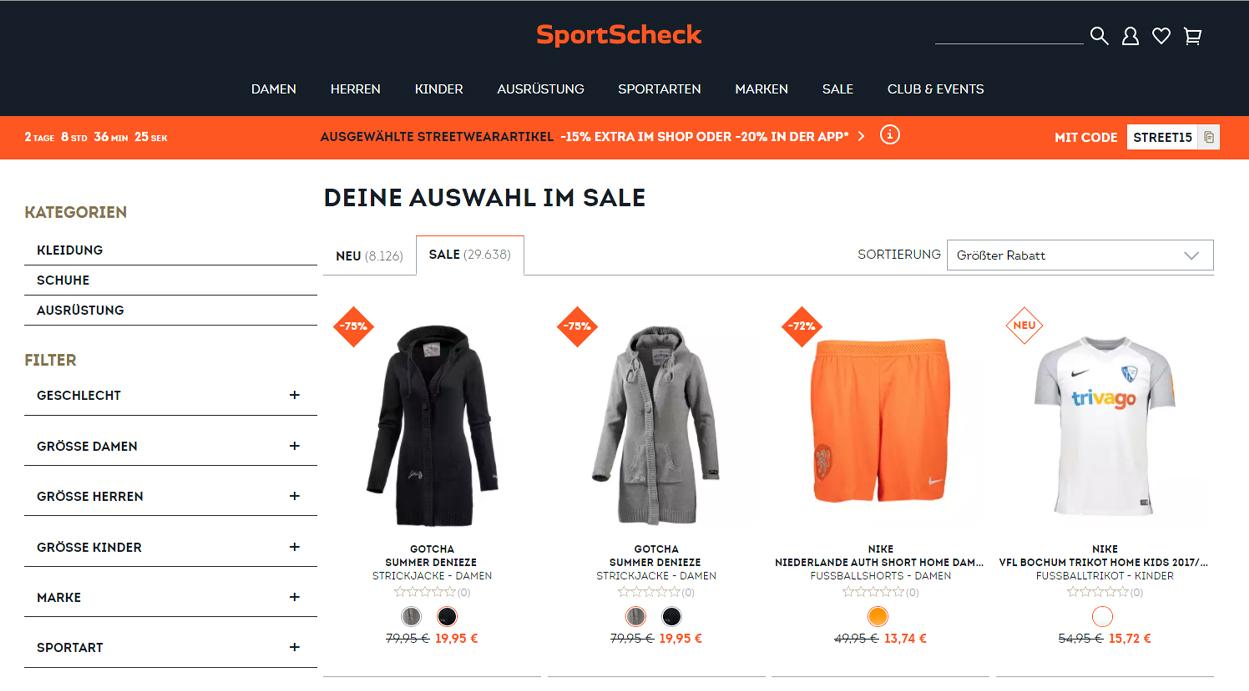 Sale bei SportScheck mit bis zu 75% Rabatt