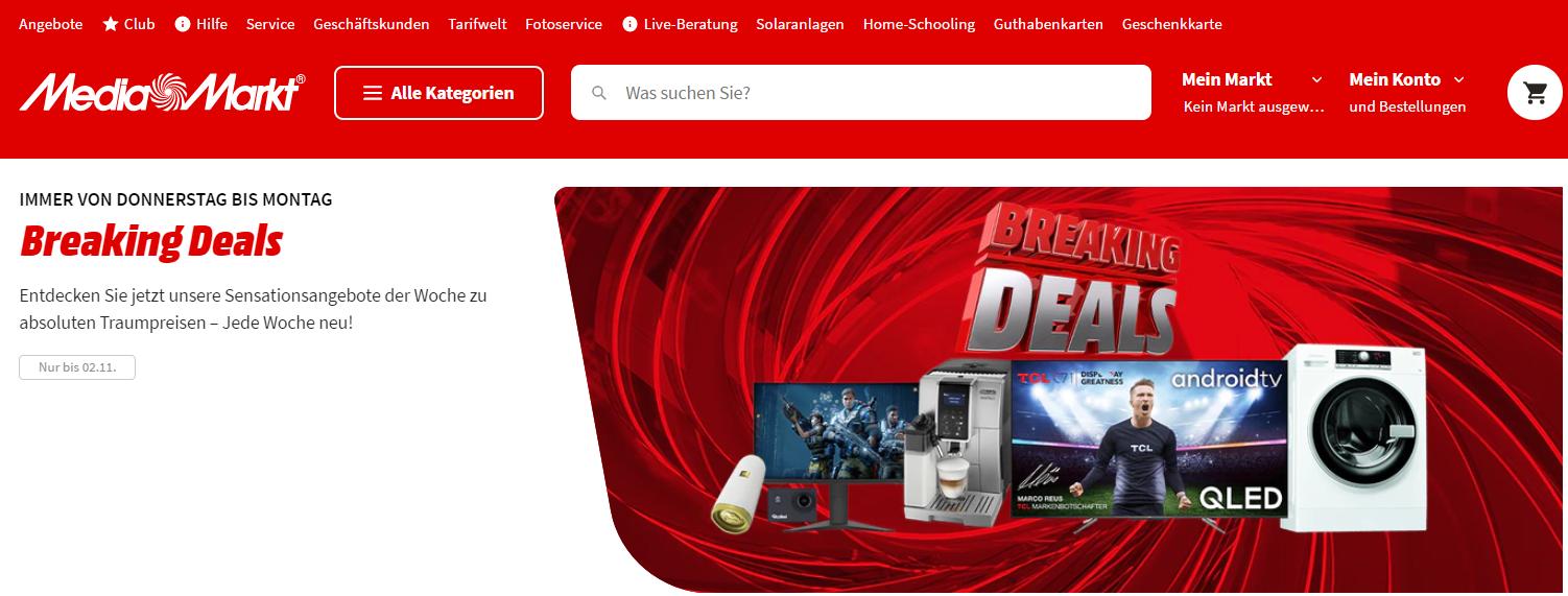Die Startseite von MediaMarkt