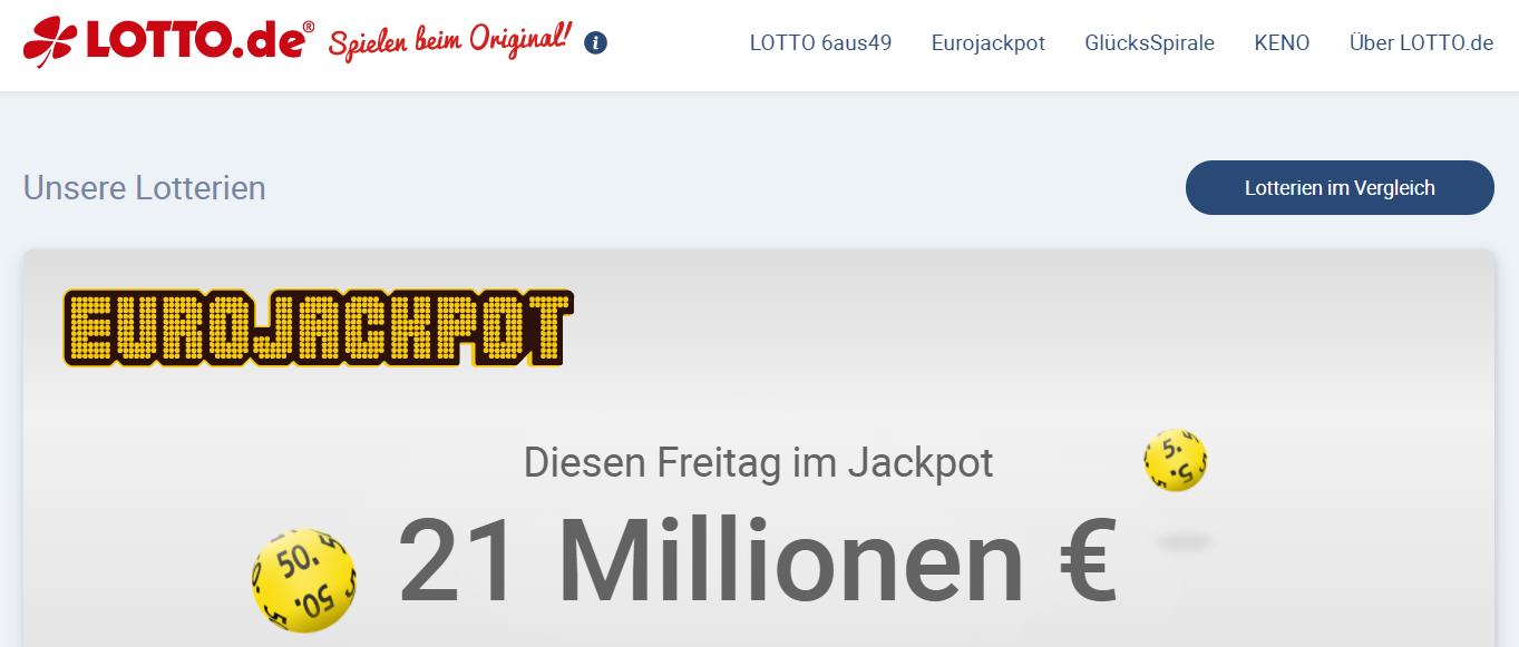 Die Startseite von Lotto