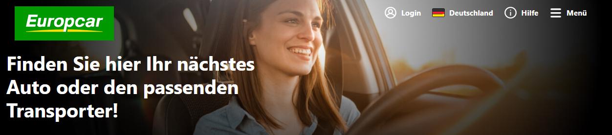 Die Startseite von Europcar