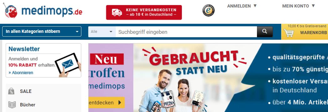 Die Startseite von Medimops