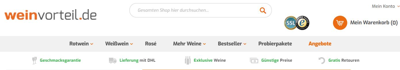 Die Startseite von weinvorteil.de