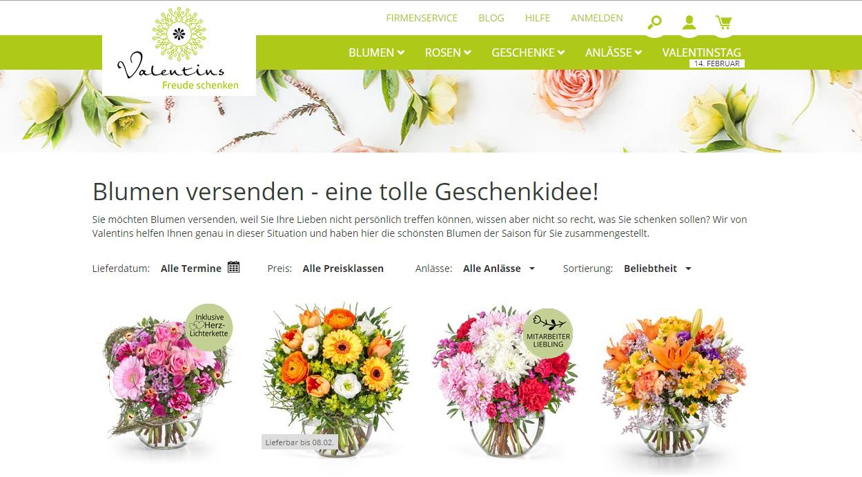 Valentins Startseite Blumensträusse