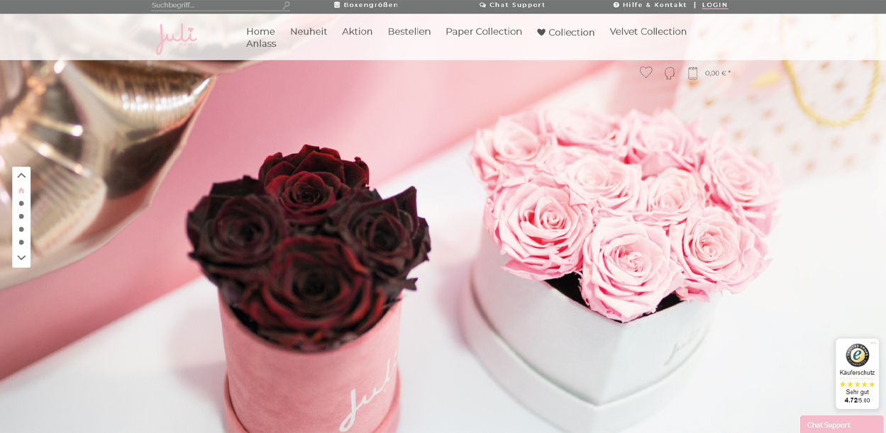 Juli Flower Infinity Rosenbox Startseite