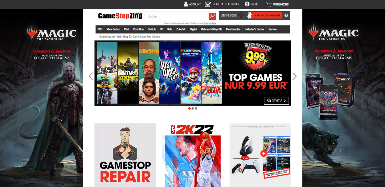 GameStop Startseite